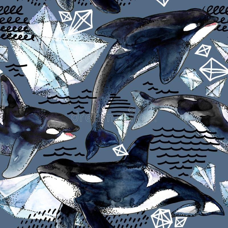 Teste padrão sem emenda da baleia de assassino ilustração royalty free