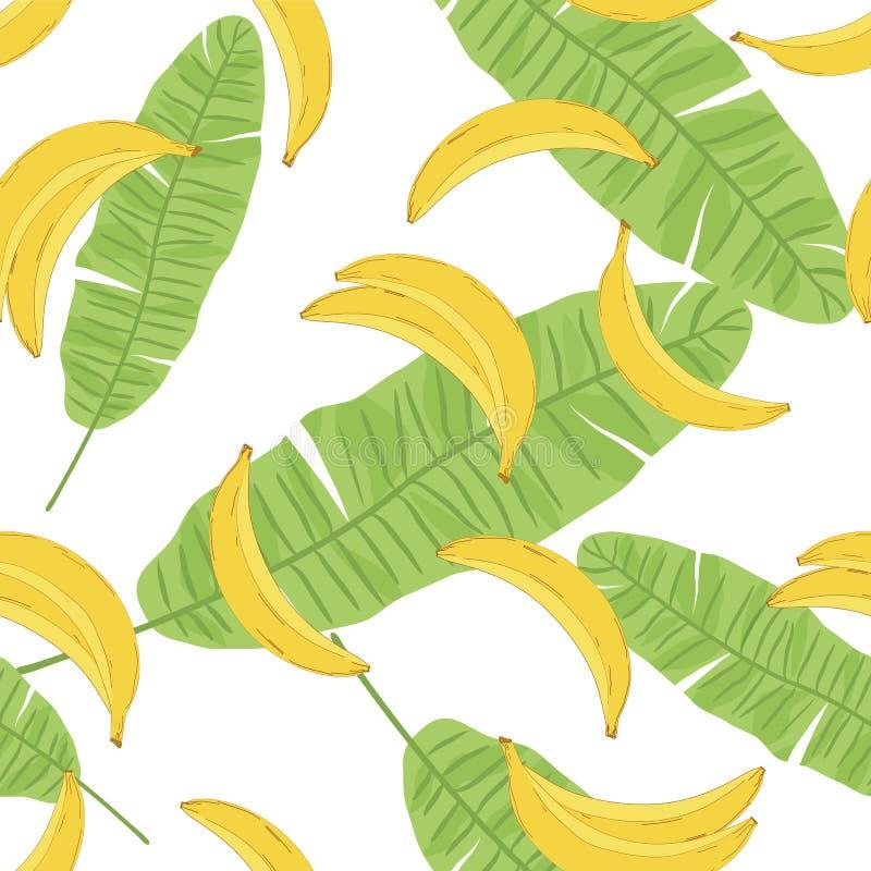 Teste padrão sem emenda da banana e das folhas ilustração royalty free