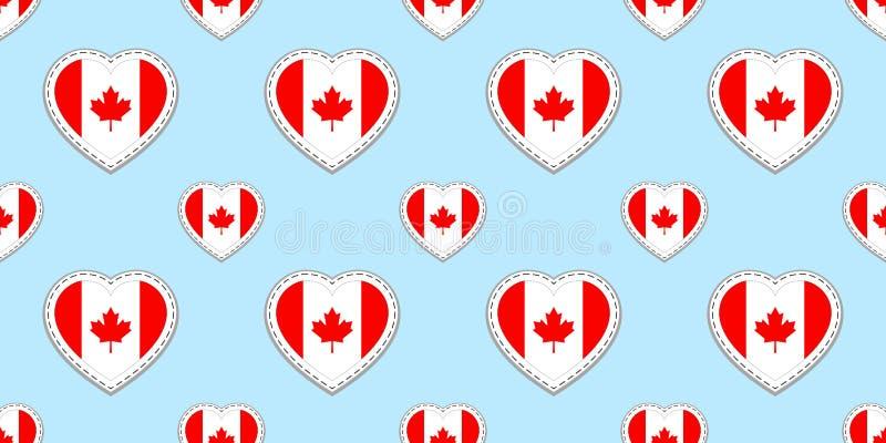 Teste padrão sem emenda da bandeira de Canadá Canadense do vetor, stikers das bandeiras Símbolos dos corações do amor Fundo para  ilustração stock