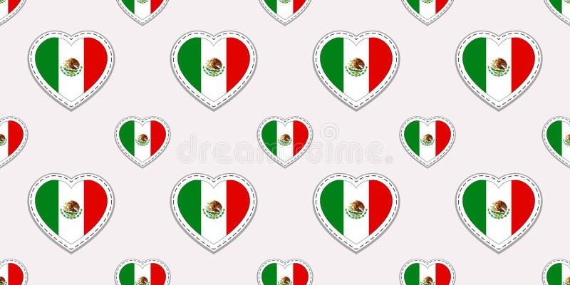 Teste padrão sem emenda da bandeira de México Etiquetas das bandeiras mexicanas do vetor Símbolos dos corações do amor Textura pa ilustração do vetor