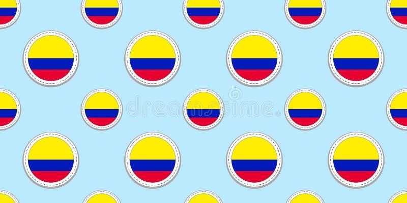 Teste padrão sem emenda da bandeira do círculo de Colômbia Fundo colombiano ?cones do c?rculo do vetor S?mbolos geom?tricos Textu ilustração stock