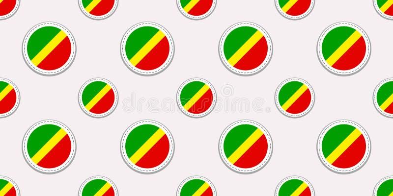 Teste padrão sem emenda da bandeira do círculo de Congo Fundo congolês ?cones do c?rculo do vetor S?mbolos geom?tricos Textura pa ilustração stock