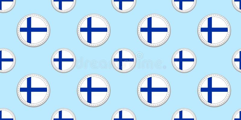 Teste padrão sem emenda da bandeira do círculo de Finlandia Fundo do finlandês Ícones do círculo do vetor Símbolos geométricos Te ilustração royalty free