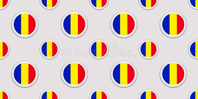 Teste padrão sem emenda da bandeira do círculo de Romênia Fundo romeno Ícones do círculo do vetor Símbolos geométricos Textura pa ilustração royalty free