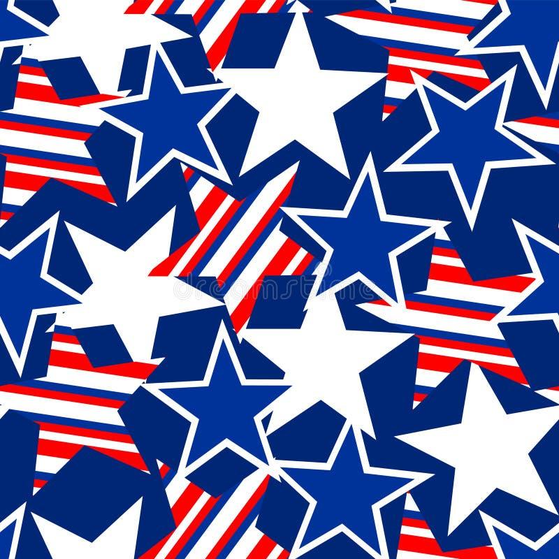 Teste padrão sem emenda da bandeira dos Estados Unidos dos EUA ilustração stock