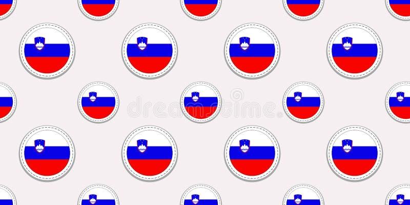 Teste padrão sem emenda da bandeira redonda do Eslovênia Fundo esloveno Ícones do círculo do vetor Símbolos geométricos Textura p ilustração royalty free