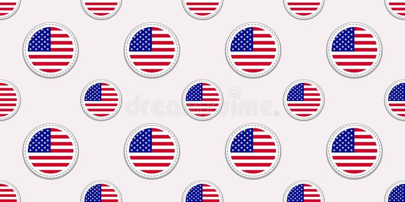 Teste padrão sem emenda da bandeira redonda dos EUA Fundo americano Ícones do círculo do vetor Os símbolos do Estados Unidos da A ilustração do vetor