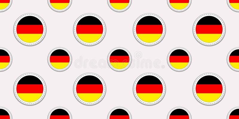Teste padrão sem emenda da bandeira redonda germânica Fundo de Alemanha Ícones do círculo do vetor Símbolos geométricos Texture p ilustração stock