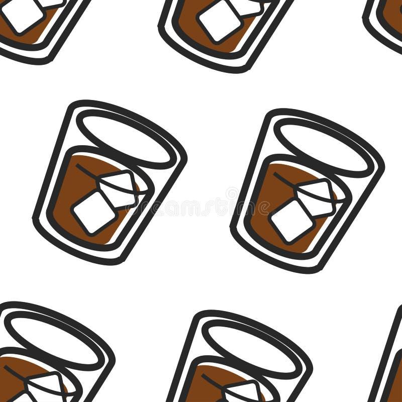 Teste padrão sem emenda da bebida nacional escocesa da cola e do gelo do uísque ilustração stock