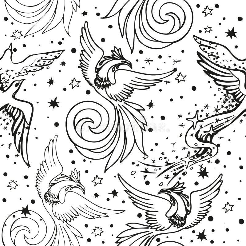 Teste padrão sem emenda da beira com pássaros feericamente Projeto decorativo ornamentado do vetor ilustração stock