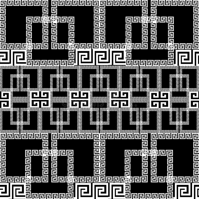 Teste padrão sem emenda da beira do vetor grego geométrico Preto decorativo ilustração royalty free