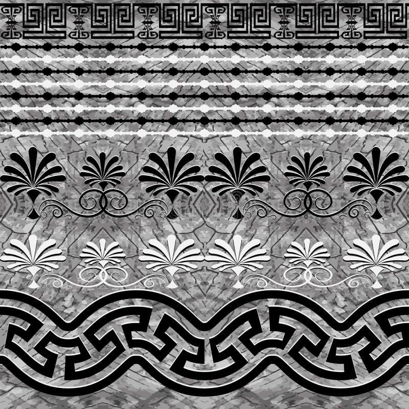 Teste padrão sem emenda da beira grega textured da pedra Fundo abstrato do monochrome do vetor Repita o contexto tribal geométric ilustração royalty free