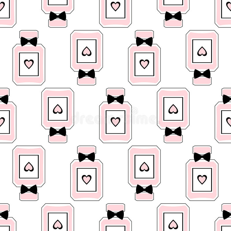 Teste padrão sem emenda da beleza de garrafas de perfume com curvas e corações ilustração do vetor
