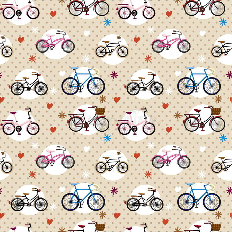 Teste padrão sem emenda da bicicleta ilustração do vetor