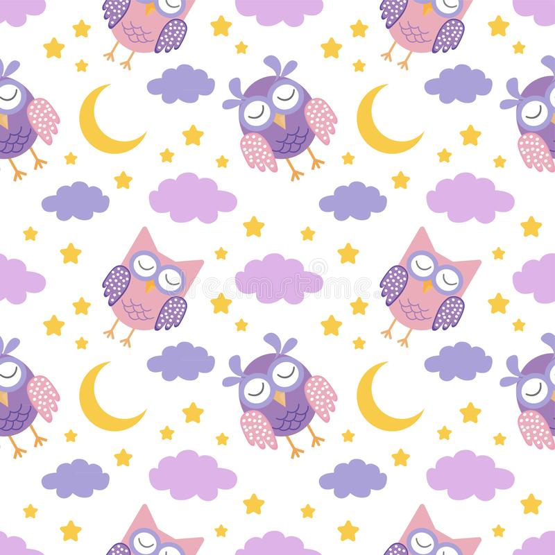 Teste padrão sem emenda da boa noite com as corujas bonitos, a lua, as estrelas e as nuvens do sono Fundo dos sonhos doces ilustração royalty free