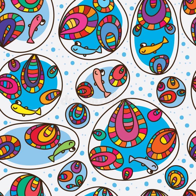 Teste padrão sem emenda da bolha colorida feliz dos peixes ilustração do vetor