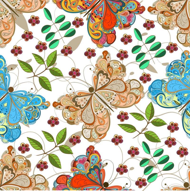 Teste padrão sem emenda da borboleta ilustração do vetor