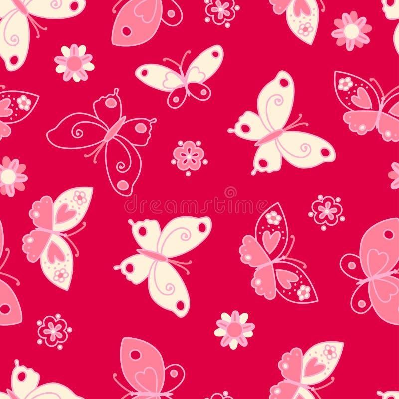Teste padrão sem emenda da borboleta e das flores ilustração royalty free