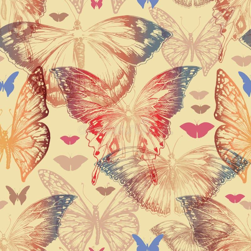 Teste padrão sem emenda da borboleta no estilo retro ilustração do vetor