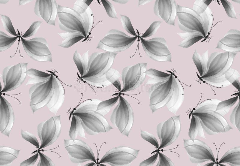 Teste padrão sem emenda da borboleta preto e branco extravagante ilustração royalty free
