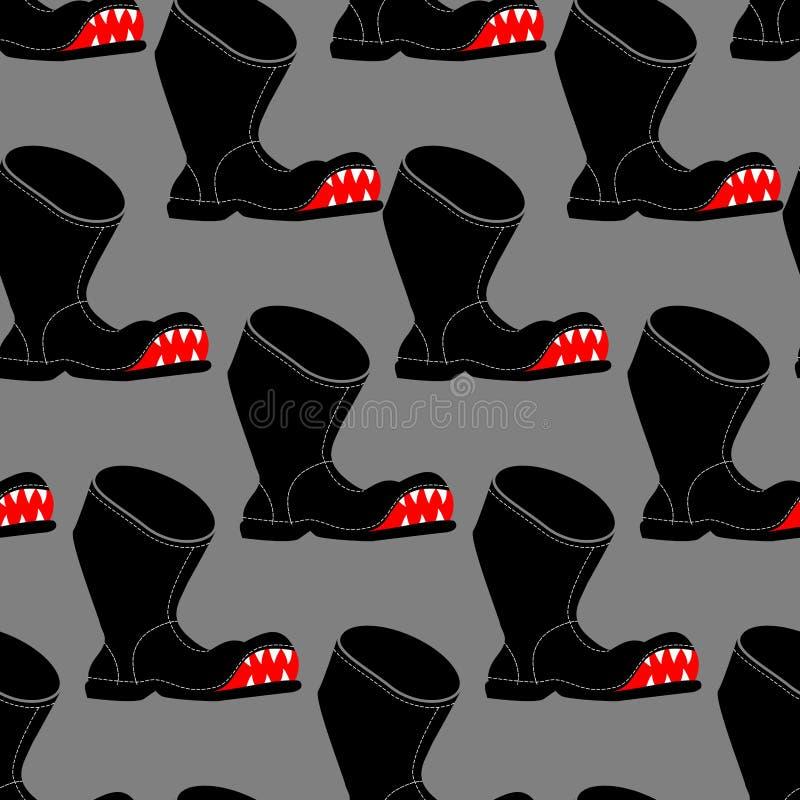 Teste padrão sem emenda da bota quebrada Sapatas velhas Toothy com backgro do furo ilustração stock