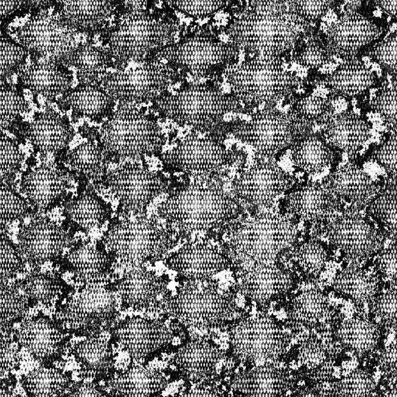 Teste padrão sem emenda da cópia da pele de serpente Textura sem emenda do pitão do réptil Textura de repetição preto e branco mo ilustração royalty free