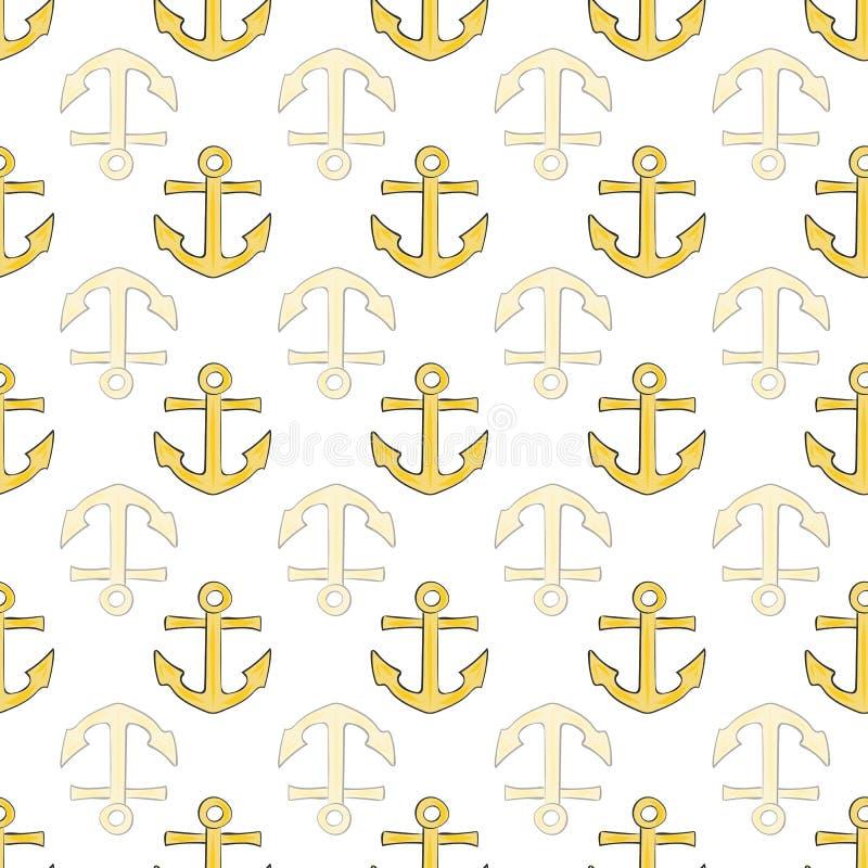 Teste padrão sem emenda da cópia da repetição náutica alegre da coleção no vetor ilustração do vetor