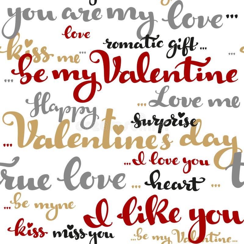 Teste padrão sem emenda da caligrafia dos cumprimentos do dia de Valentim em um wh ilustração stock