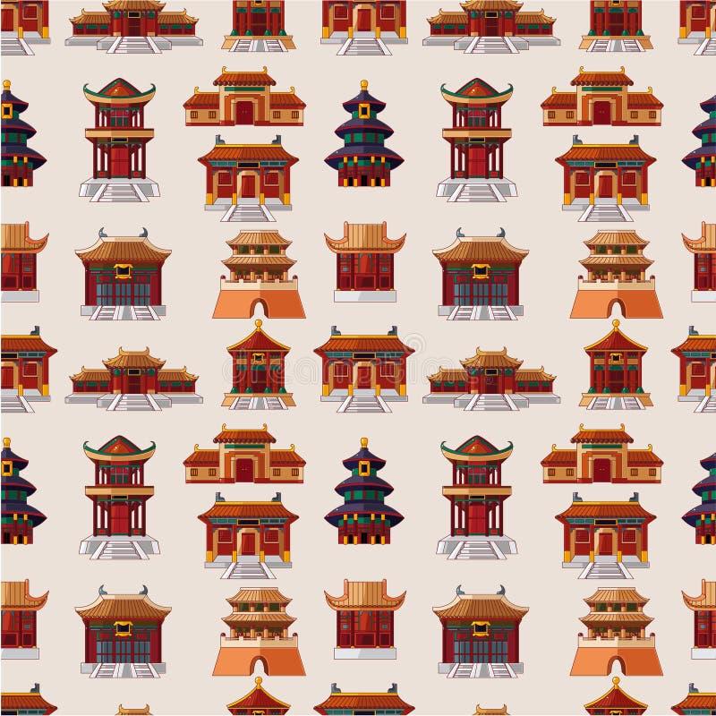 Teste padrão sem emenda da casa chinesa dos desenhos animados ilustração royalty free