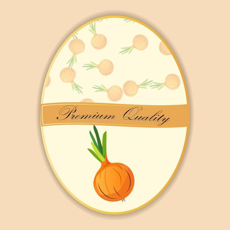 Teste padrão sem emenda da cebola no alimento doce maduro dos vegetais da etiqueta ilustração royalty free
