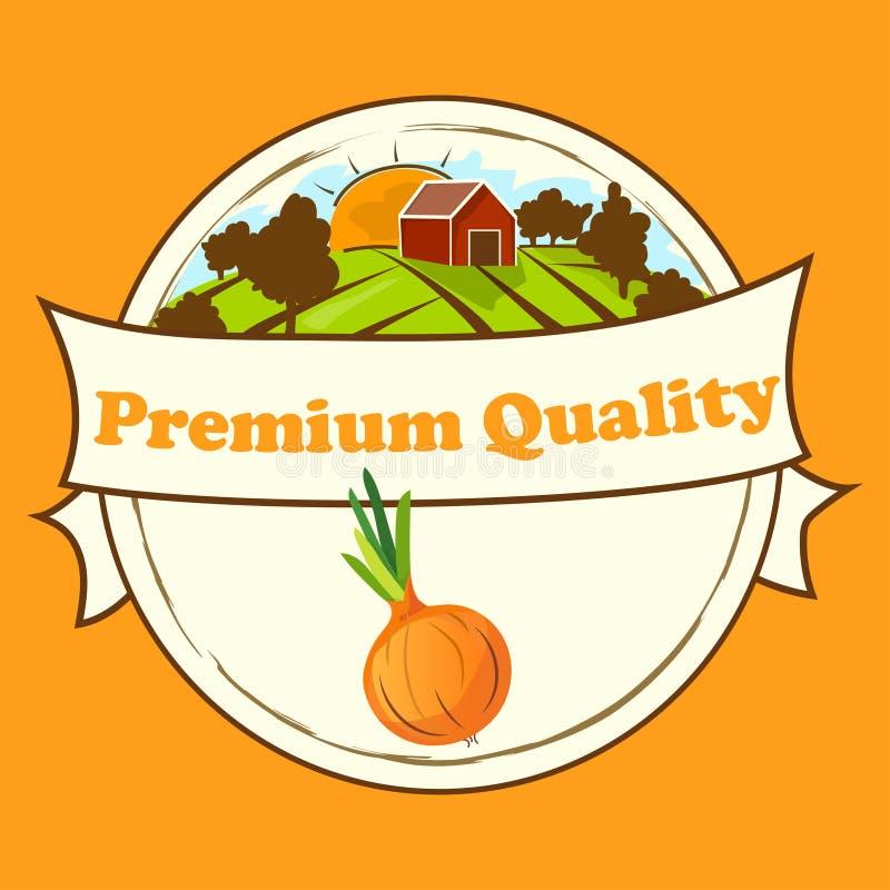 Teste padrão sem emenda da cebola no alimento doce maduro dos vegetais da etiqueta ilustração do vetor
