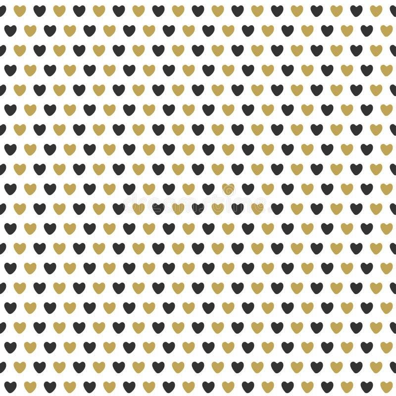 Teste padrão sem emenda da celebração com corações do ouro ilustração royalty free