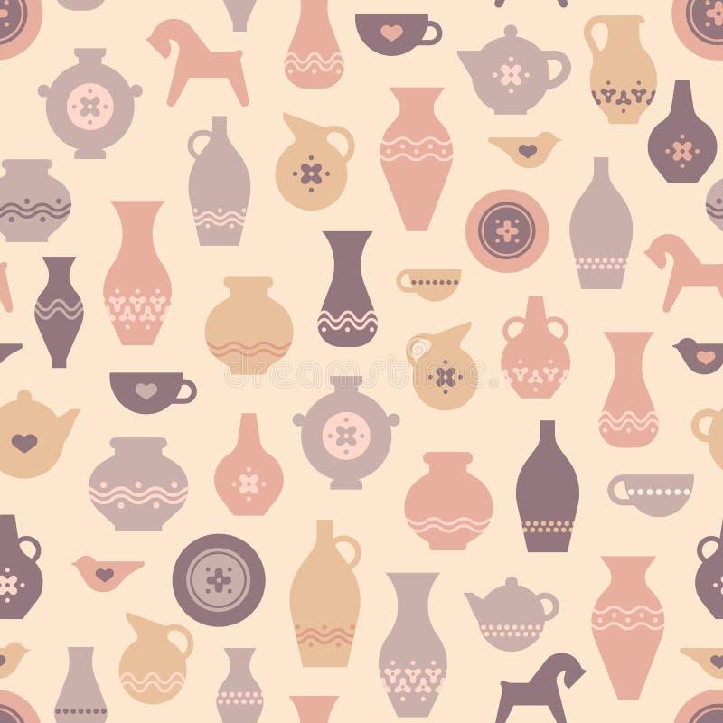 Teste padrão sem emenda da cerâmica do vetor com vasos e o outro ofício da cerâmica ilustração stock