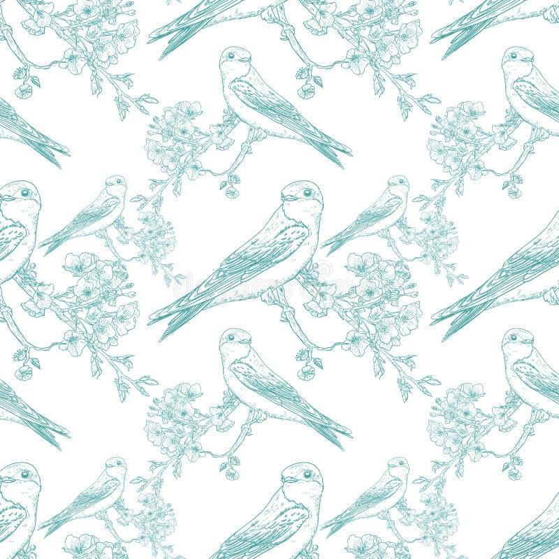 Teste padrão sem emenda da cereja da mola com pássaros ilustração do vetor