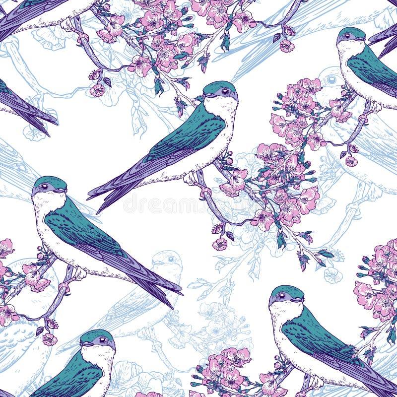 Teste padrão sem emenda da cereja da mola com pássaros ilustração stock