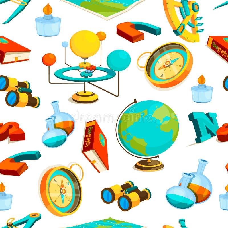 Teste padrão sem emenda da ciência Imagens do vetor da geografia e da ciência ilustração stock