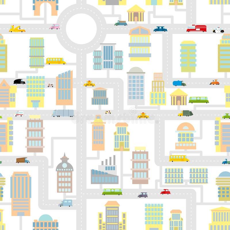 Teste padrão sem emenda da cidade da manhã Mapa bonito dos desenhos animados da textura para o bab ilustração stock