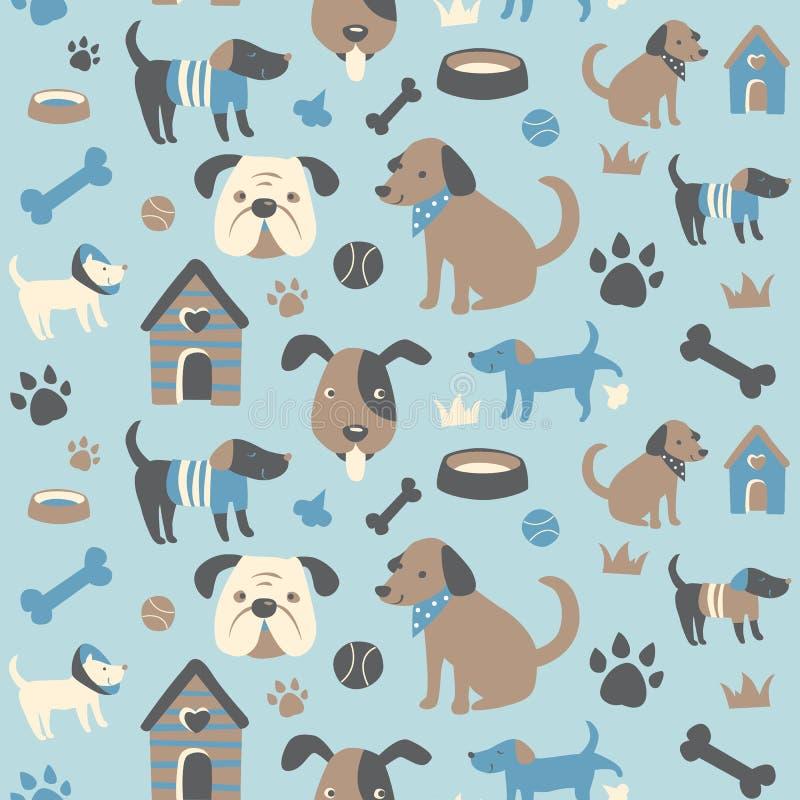 Teste padrão sem emenda da coleção do Doggy ilustração do vetor