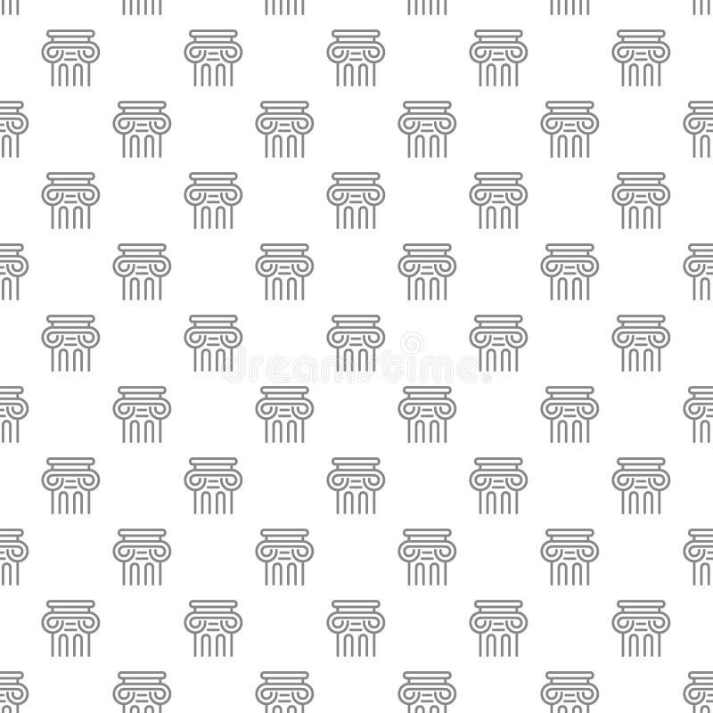 Teste padrão sem emenda da coluna antiga simples com vários ícones e símbolos na ilustração lisa do vetor do fundo branco ilustração do vetor