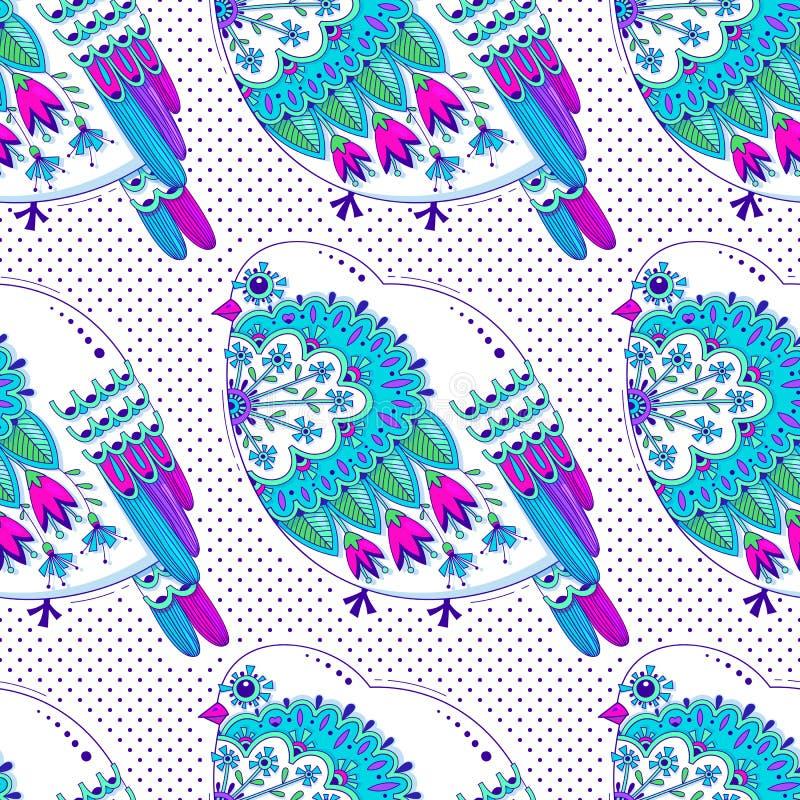 Teste padrão sem emenda da cor branca e azul com pássaros e o ornamento floral no fundo dos às bolinhas Ilustração do vetor ilustração royalty free