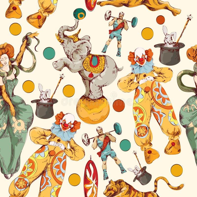 Teste padrão sem emenda da cor do esboço da garatuja do circo ilustração royalty free