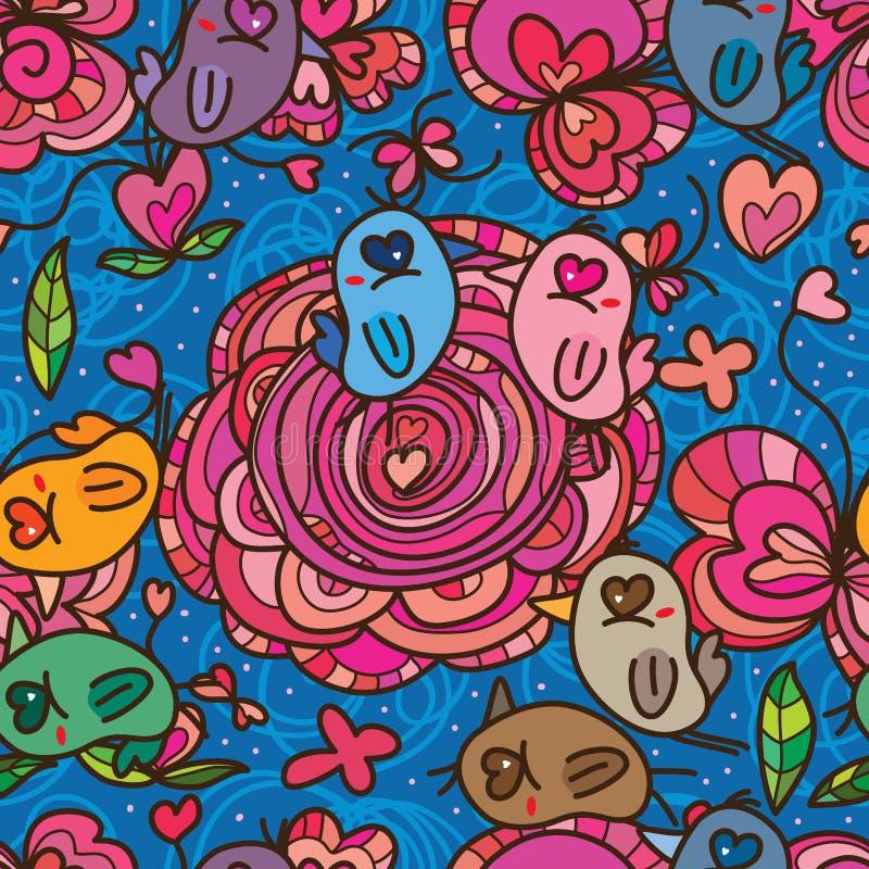 Teste padrão sem emenda da cor do rosa da flor do amor do olho do pássaro ilustração do vetor