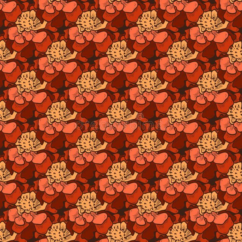 Teste padrão sem emenda da cor do vetor de flores do cravo-de-defunto ilustração stock