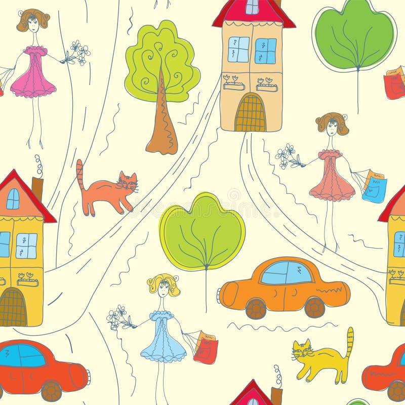 Teste padrão sem emenda da cor engraçada com menina ilustração royalty free