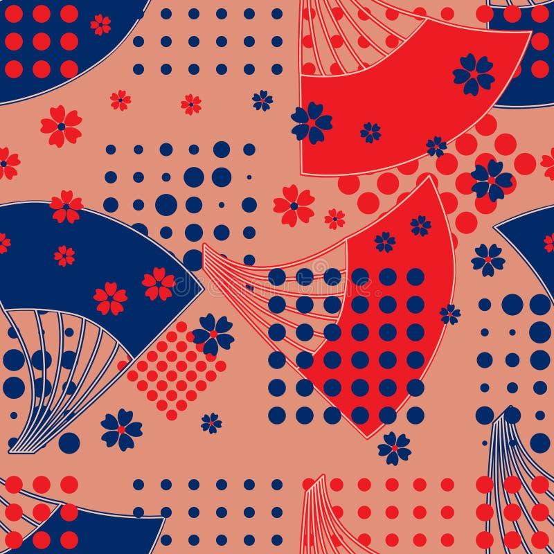 Teste padrão sem emenda da cor japonesa do estilo do ponto do fã ilustração do vetor