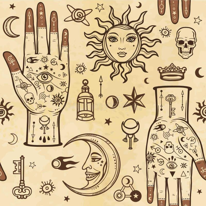 Teste padrão sem emenda da cor: mãos humanas nas tatuagens, símbolos alquímicos Esotérico, misticismo, ocultismo ilustração stock