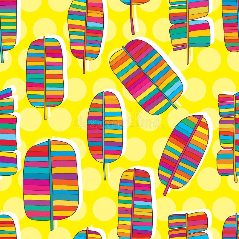 Teste padrão sem emenda da cor tribal da folha da banana ilustração do vetor