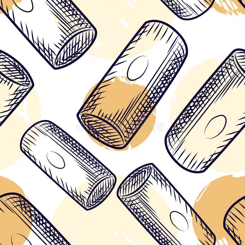 Teste padrão sem emenda da cortiça da garrafa de vinho A cortiça tapa o contexto ilustração royalty free
