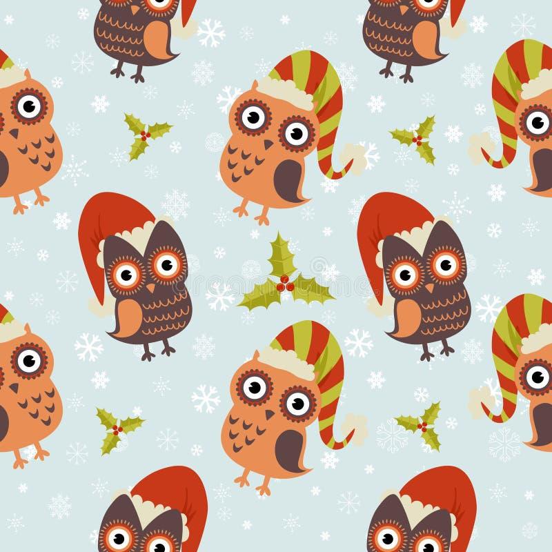 Teste padrão sem emenda da coruja bonito do Natal ilustração do vetor