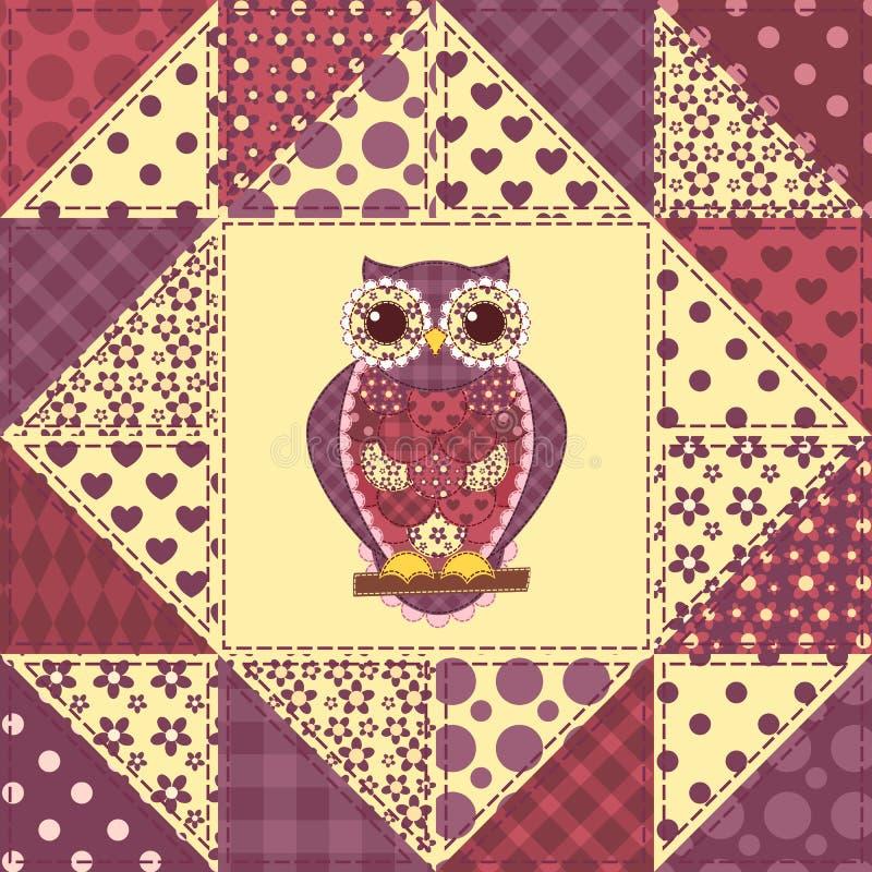 Teste padrão sem emenda 2 da coruja dos retalhos ilustração royalty free